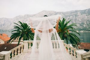 bride with long veil back view
