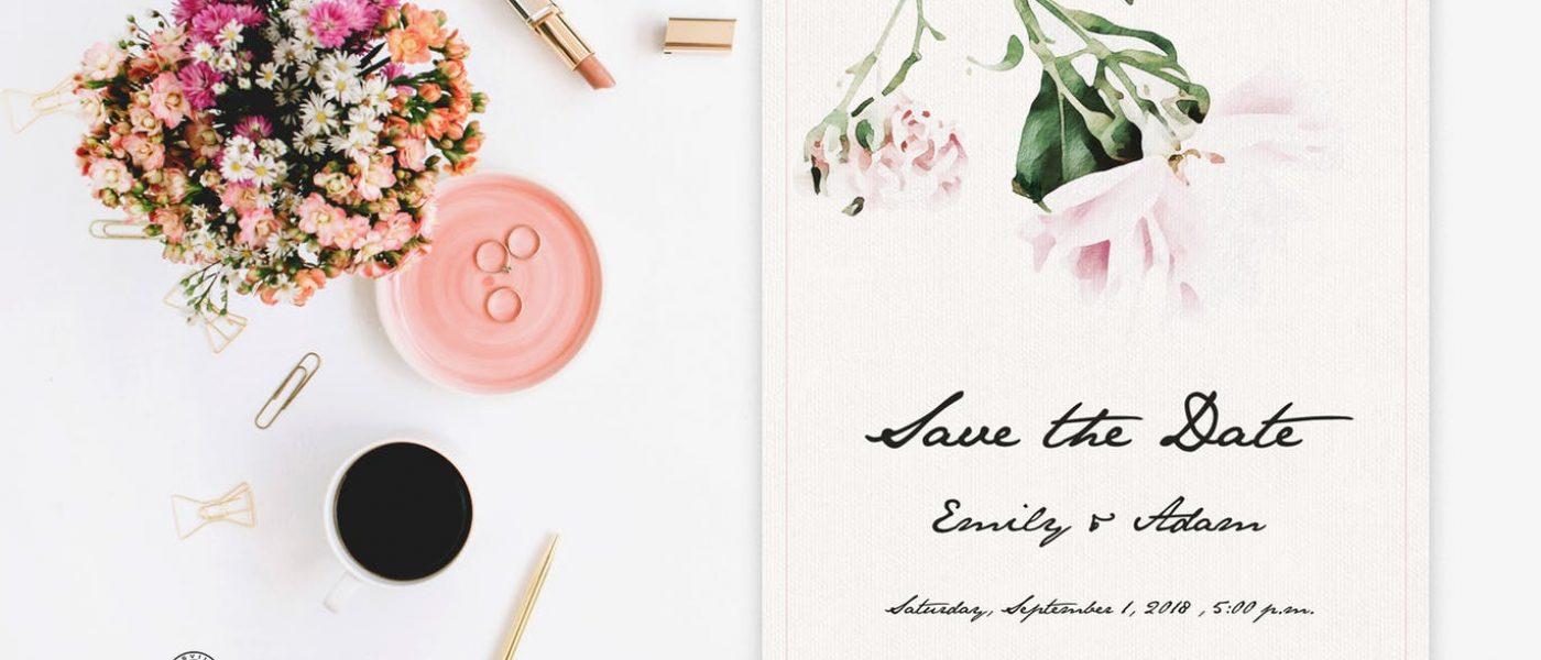 white invito classico ed elegante acquerellato